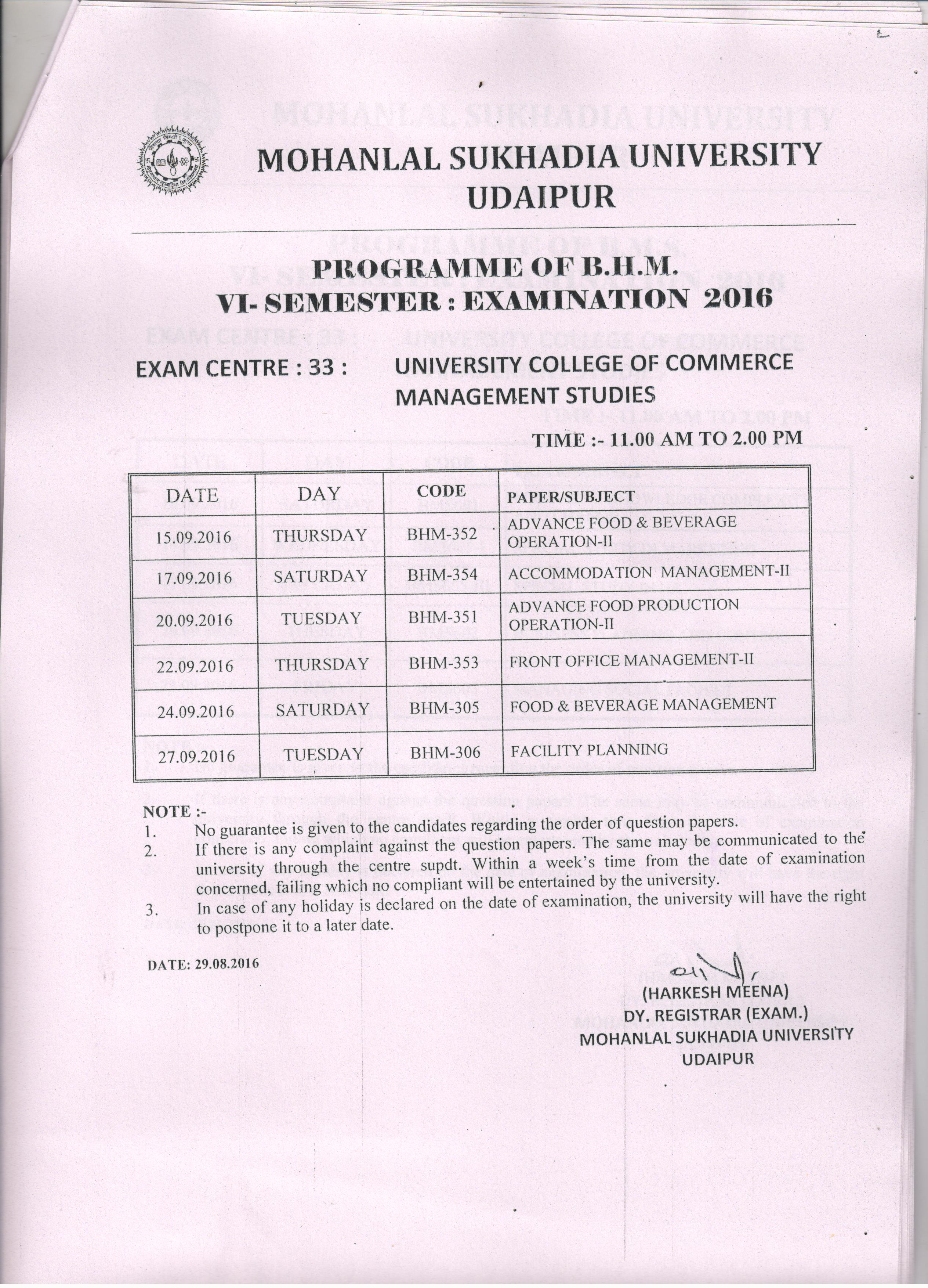 Mohanlal sukhadia university bhm 6th sem sept 2016 exam for 6th sem time table