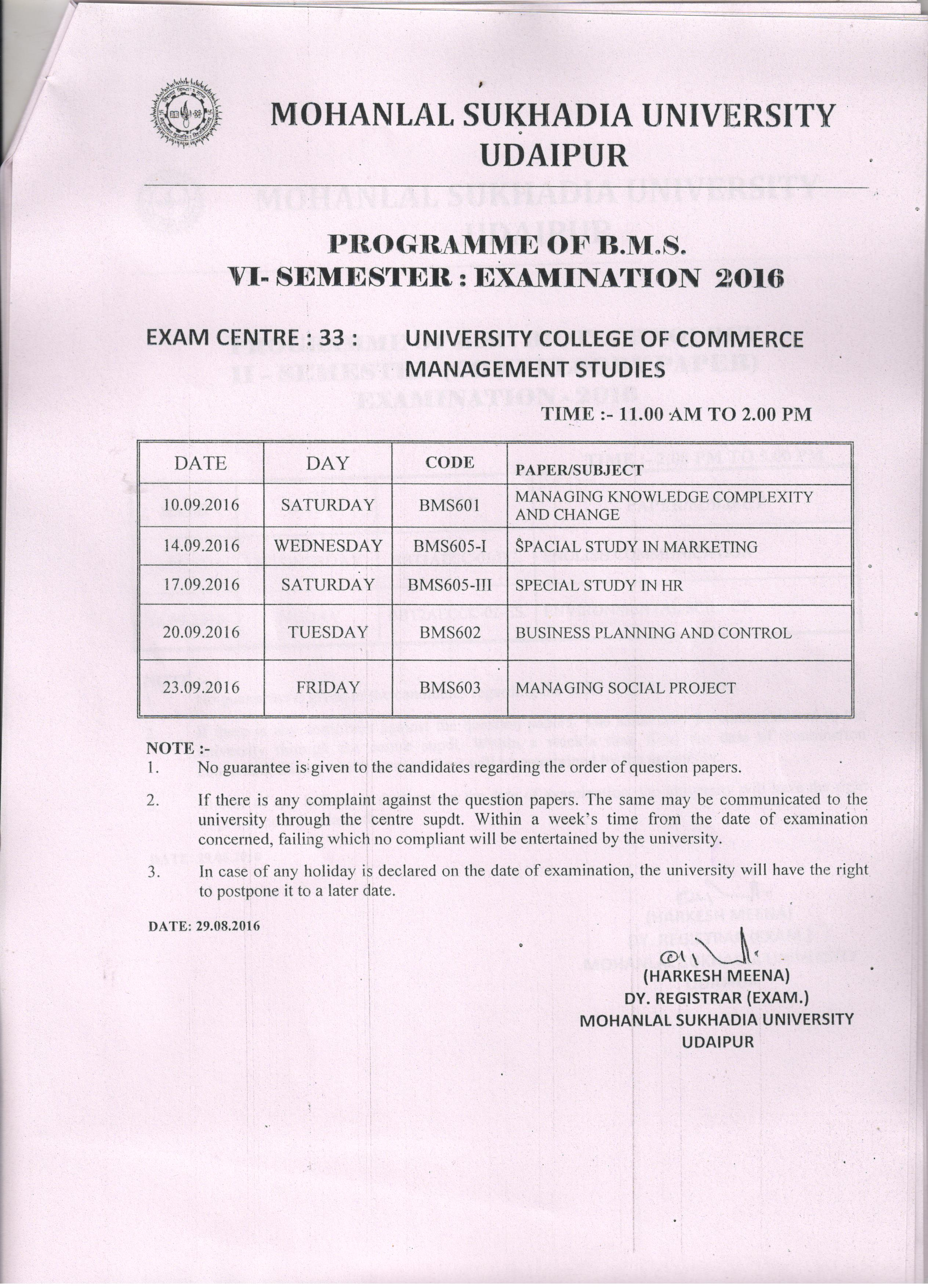 Mohanlal sukhadia university bms 6th sem 2016 exam time for 6th sem time table