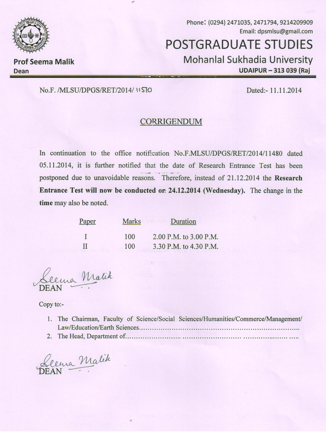 mlsu phd course work result 2013